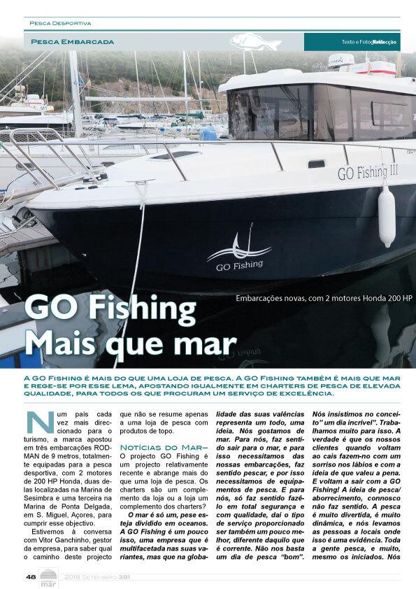 Artigo Go Fishing no Jornal notícias do Mar no mês de Setembro 2018