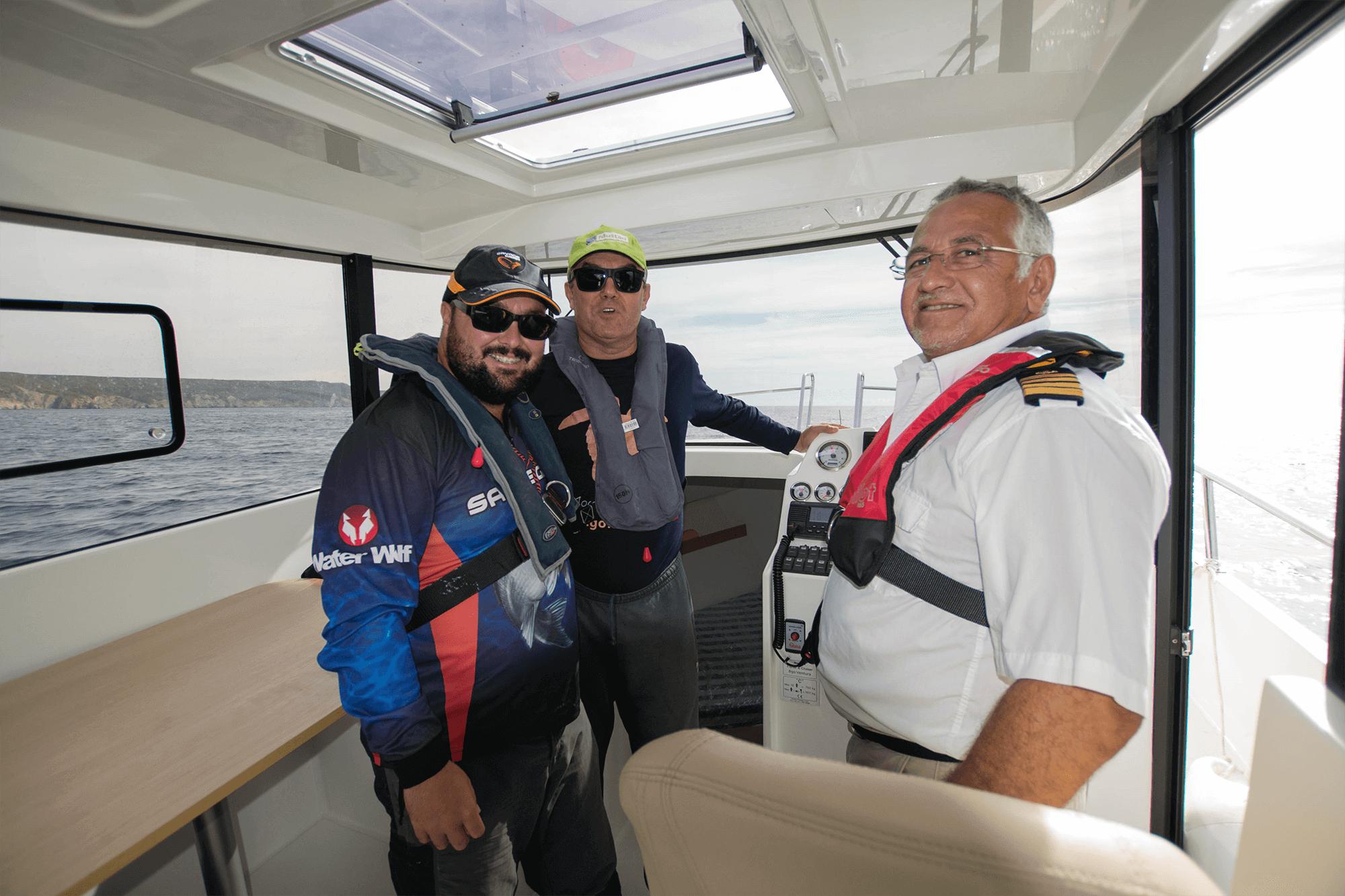 Raul Gil, Vitor Ganchinho e comandante Jorge Abreu